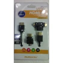 Mumuksu HDMI cable+ Micro/Mini HDMI Converter + L Converter (ZHC-10KIT )